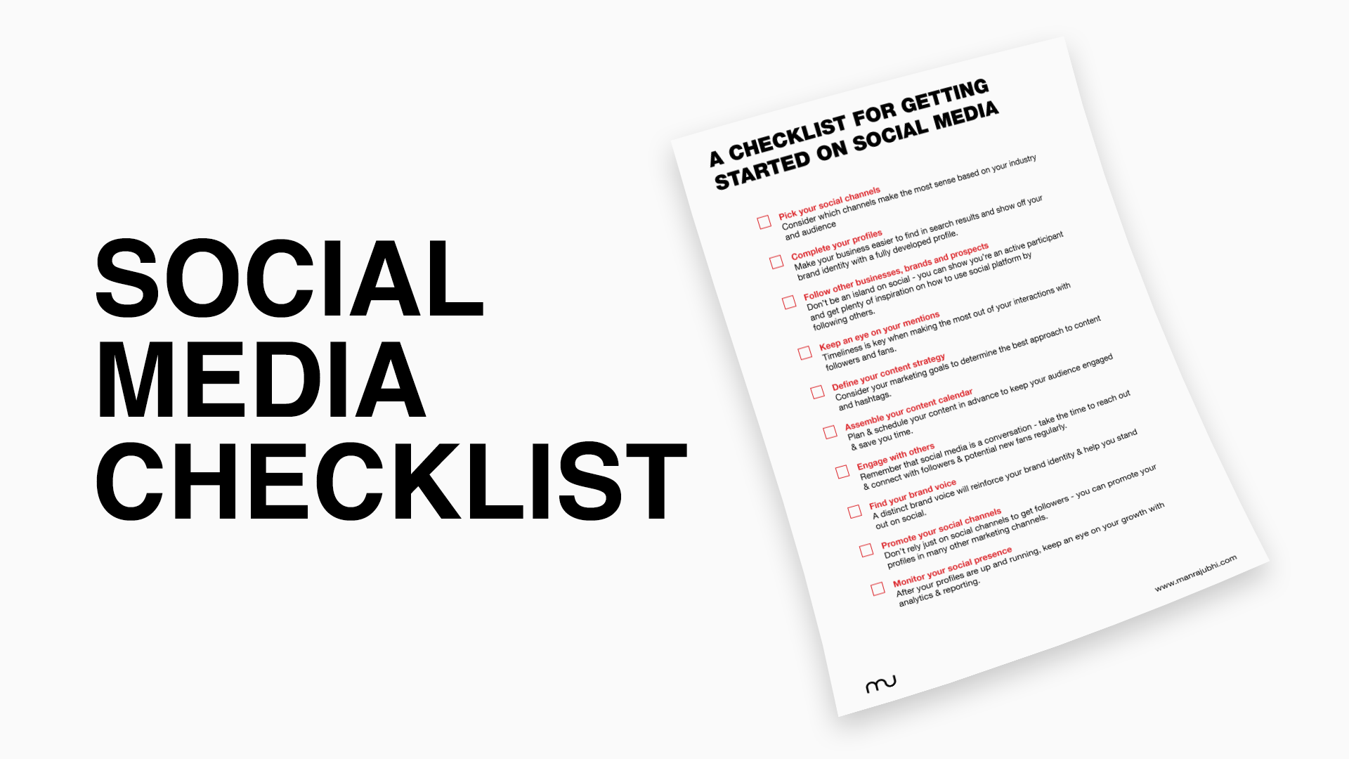 Social Media Checklist - Manraj Ubhi